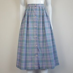 Vintage Lavender Plaid Button Front Midi Skirt